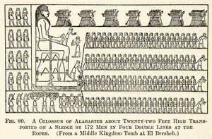1909 Print Egyptian Workers Colossus Alabaster Sled Rope El Bersheh Tomb XHC8