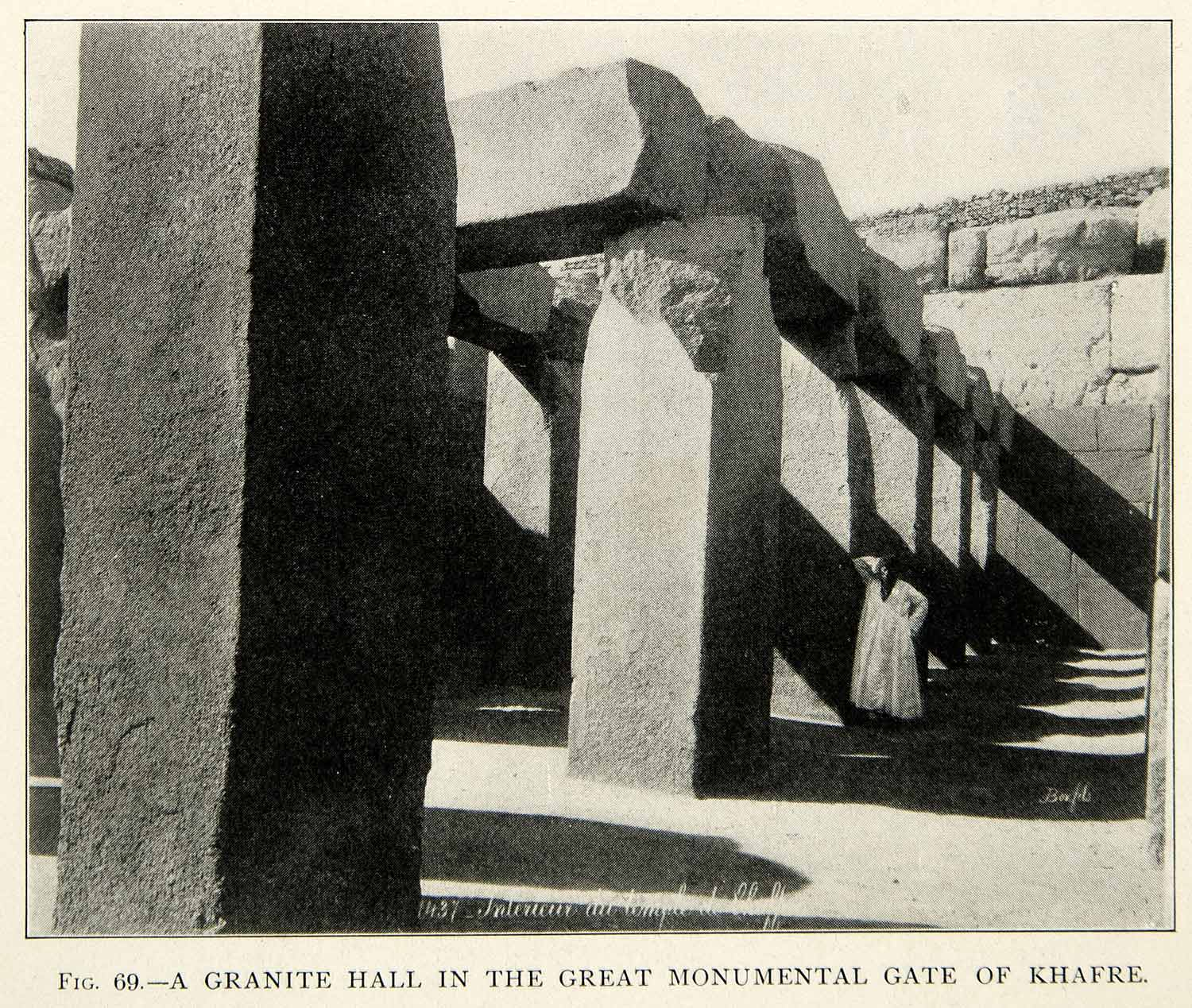 1909 Print Granite Hall Gate Khafre Stone Archaeological Site Historic XHC8
