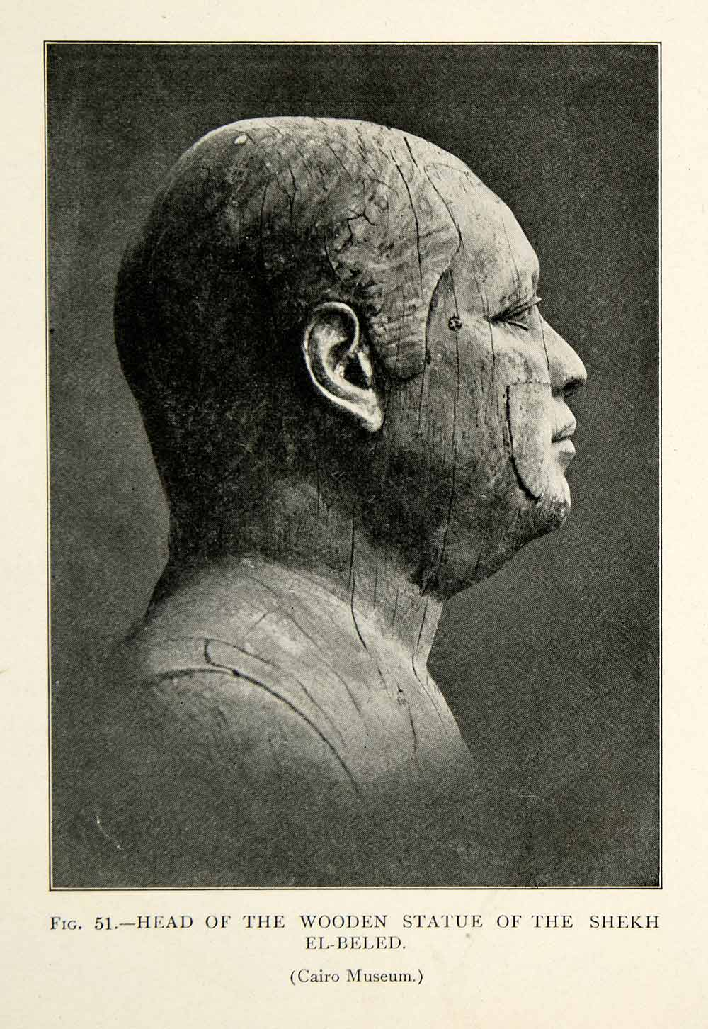 1909 Print Shekh el-Beled Wooden Statue Bust Figure Head Profile Ear Nose XHC8