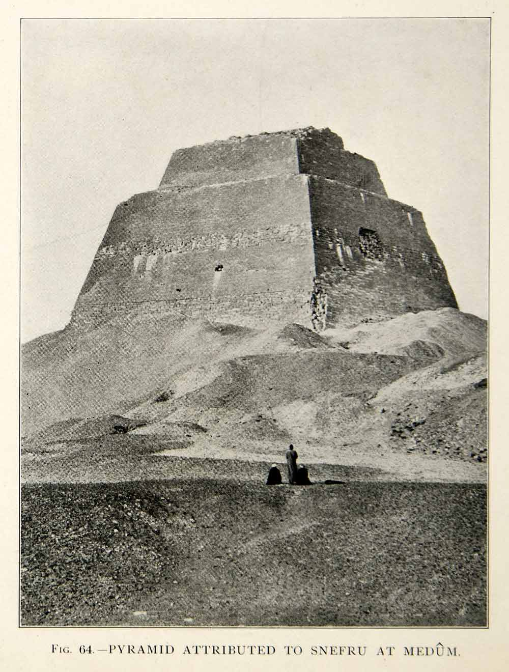 1909 Print Snefru Meidum Pyramid Arcaheological Site Egyptian Landmark XHC8