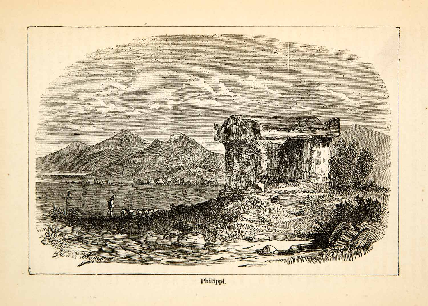 1875 Wood Engraving Ruin Remains Philippi Macedonia Landscape Historic XHD3