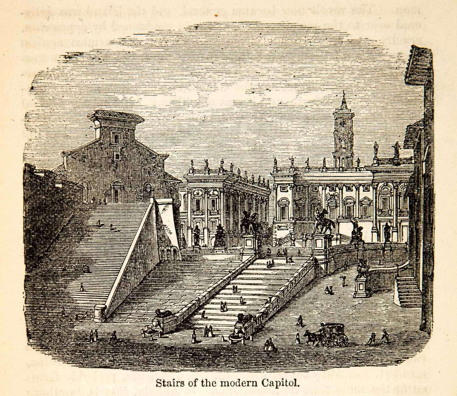 1875 Wood Engraving Stairs Modern Capitol Italy Cityscape Historic XHD3