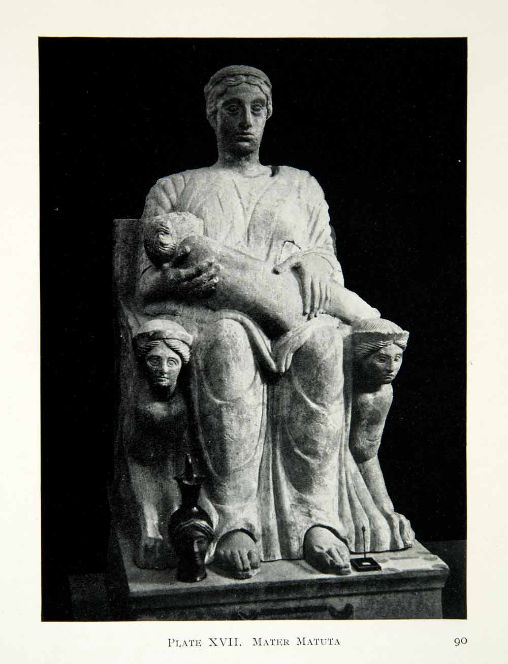 1914 Print Statue Mater Matuta Latin Goddess Aurora Nursing Child Throne XHD8