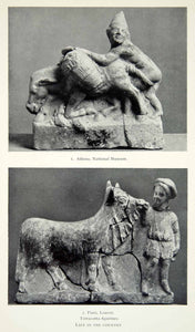 1941 Print Greek Farmer Donkey Baskets Artifact Archaeological Figurines XHE3