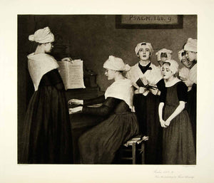 1895 Photogravure Therese Schwartze Art Psalm 140 Piano Religious Music Girls