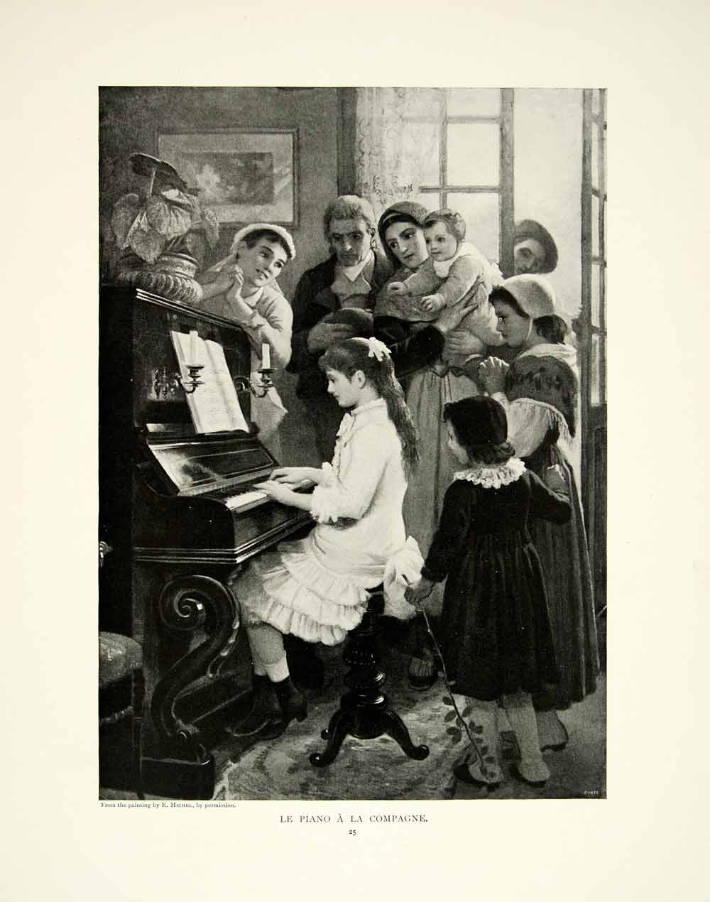 1895 Print Girl Playing Piano Music Song Family Musical Instrument Children Art
