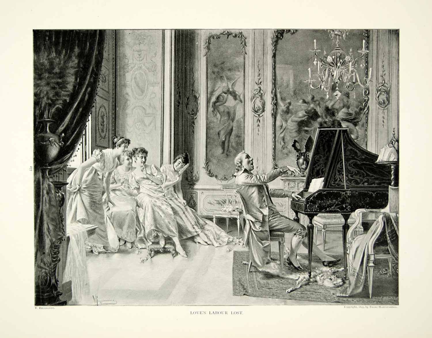 1895 Print V. Reggianini Love's Labour Lost Piano Song Parlor Music Costume Art