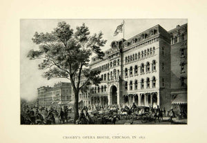 1905 Print Crosby Opera House Chicago City Scene Tree Historical Landmark XMA6