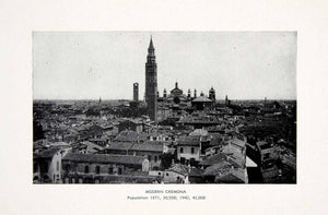 1944 Print Cremona Italy Cityscape Architecture Houses Building Church XMA8