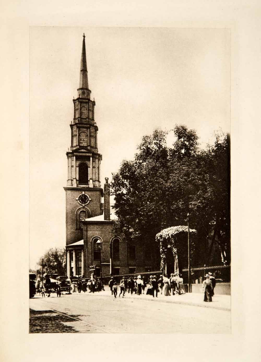 1904 Photogravure Park Street Church Boston Massachusetts Cityscape Peter XMD1