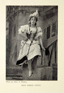 1914 Print Portrait Emmie Owen English Opera Singer Actress Costume Theater XMD5
