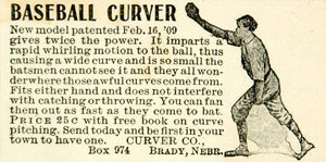 1911 Ad Baseball Curver Glove Mitt Athlete Sport Out In Fielder Pitching YAB1