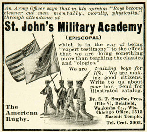 1911 Ad St Johns Military Academy Episcopal Boys Prep School Cadets Flag YAB1