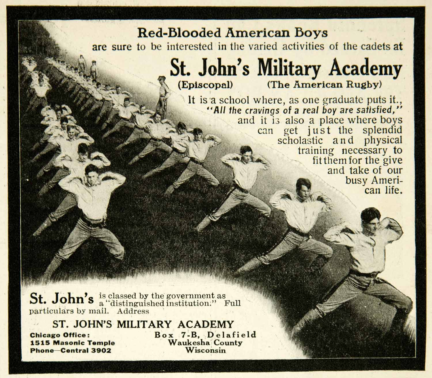 1912 Ad St Johns Military Academy 1515 Masonic Temple Chicago IL Episcopal YAB1