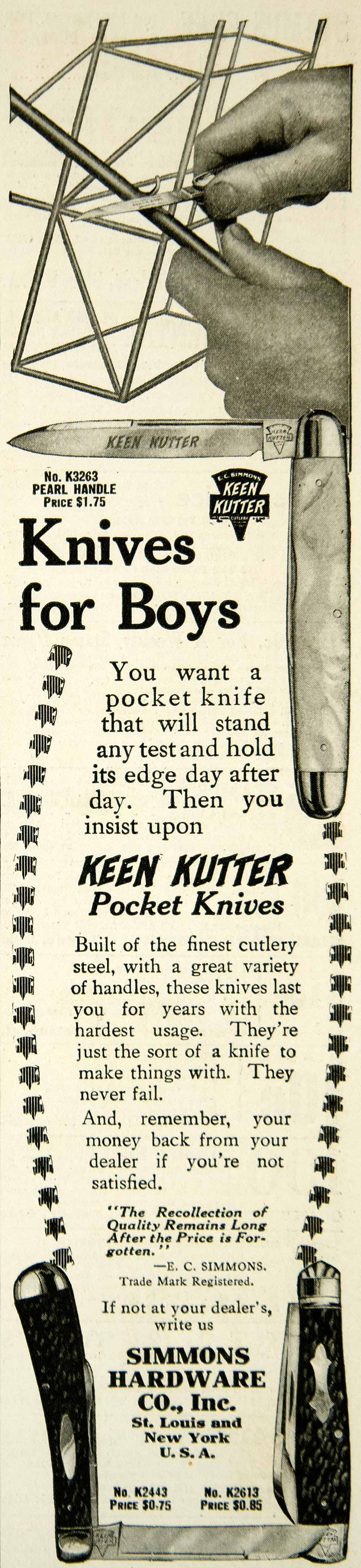 1912 Ad Keen Kutter Boys Pocket Knives Simmons Hardware Pearl Handle Blade YAB1