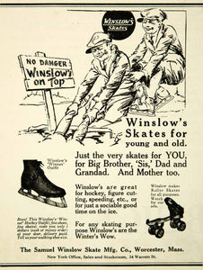 1926 Ad Samuel Winslow Ice Skates Pair Winner Hockey Roller 34 Warren St NY YAB1