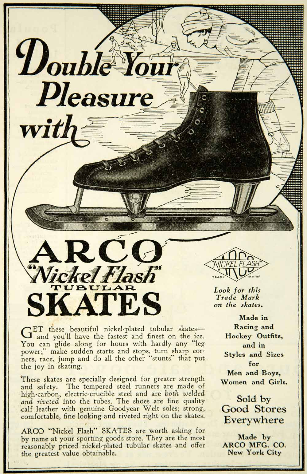 1926 Ad Arco Nickel Flash Tubular Ice Skates Pair Goodyear Welt Sole YAB1
