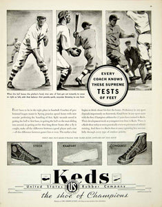 1935 Ad Keds Stride Rampart Conquest Athletic Shoes Baseball Sport Footwear YAB2