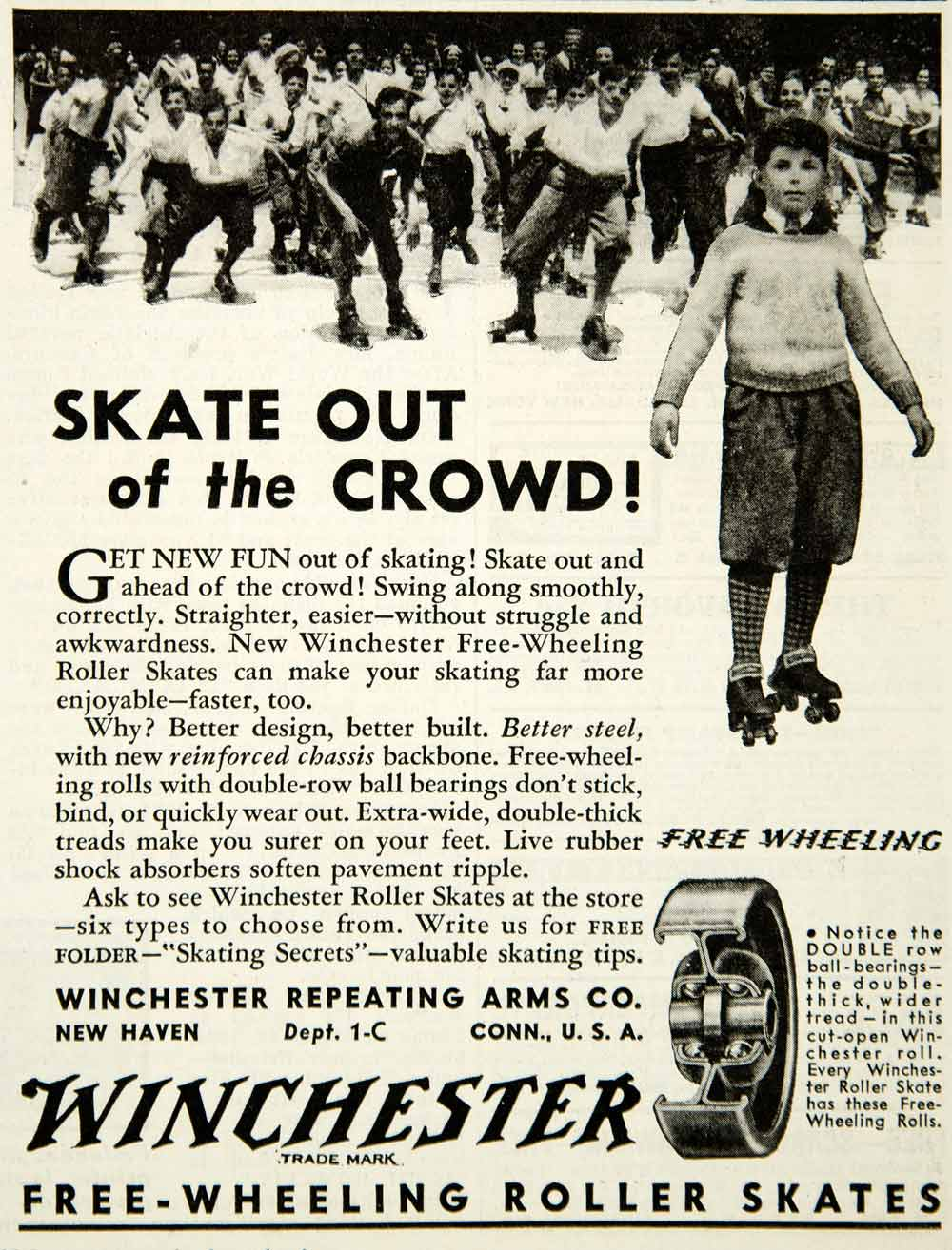 1934 Ad Winchester Free Wheeling Roller Skates Ball Bearings Boy Children YAB2