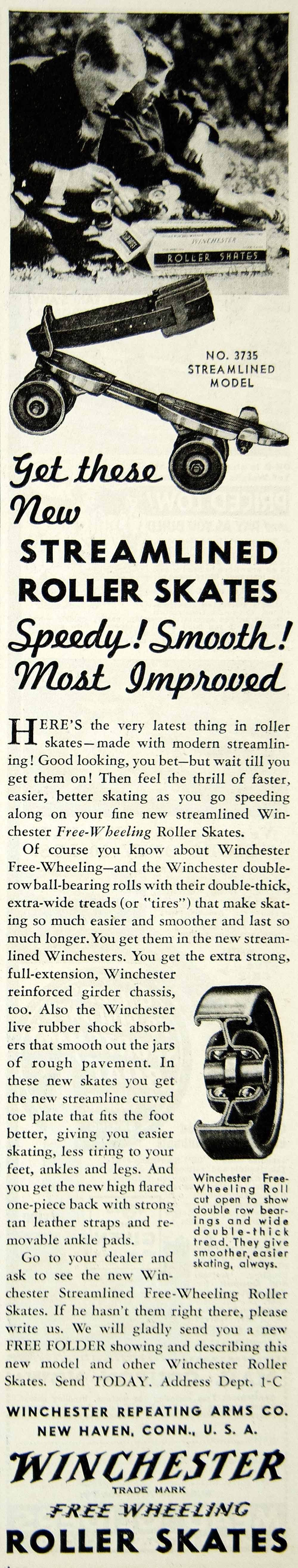 1936 Ad Winchester Free Wheeling Roller Skates No 3735 Streamlined Model YAB2