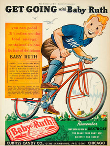 1939 Ad Baby Ruth Curtiss Candy Bar Chicago IL Bicycle Food Chocolate YAB3
