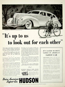 1939 Ad Hudson Six Touring Sedan 4 Door Automobile Child Bicycle Driveway YAB3