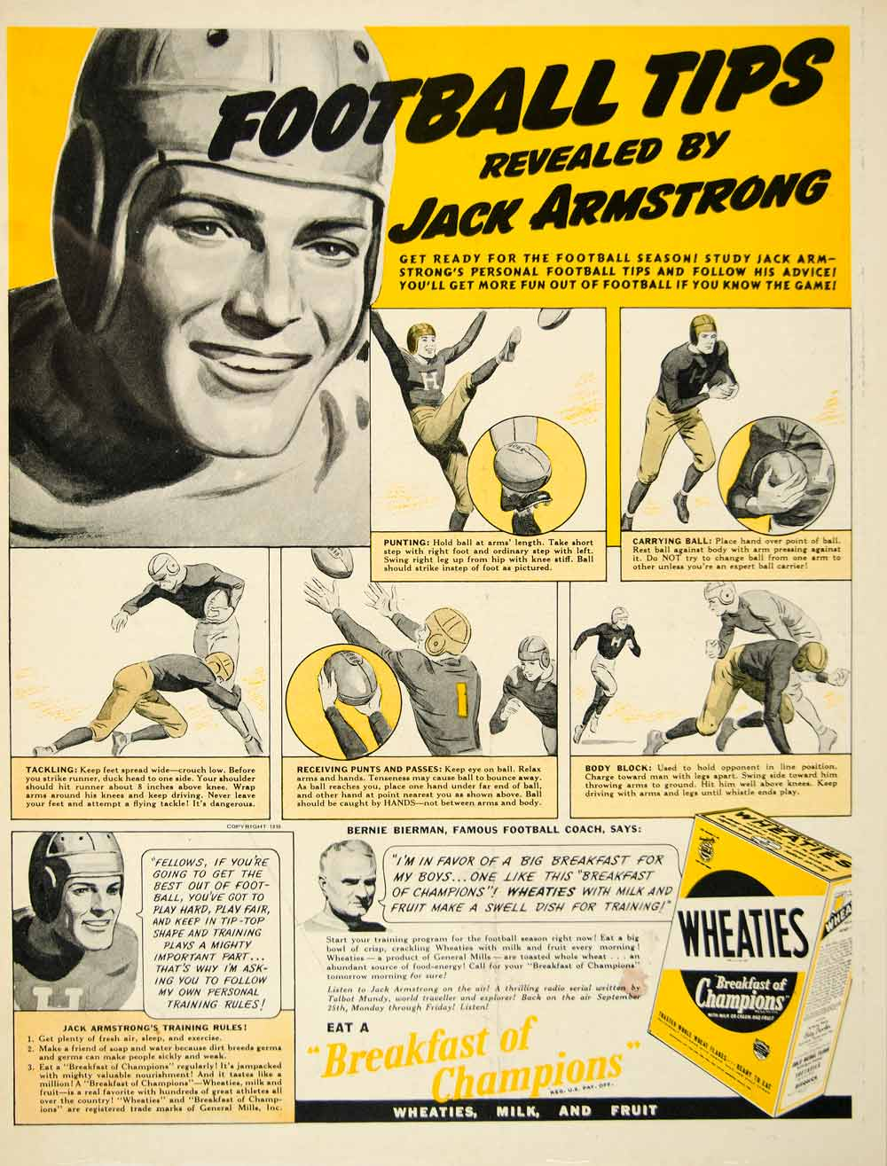 1939 Ad Wheaties Breakfast Cereal Food Football Player Sport Tips Jack YAB3
