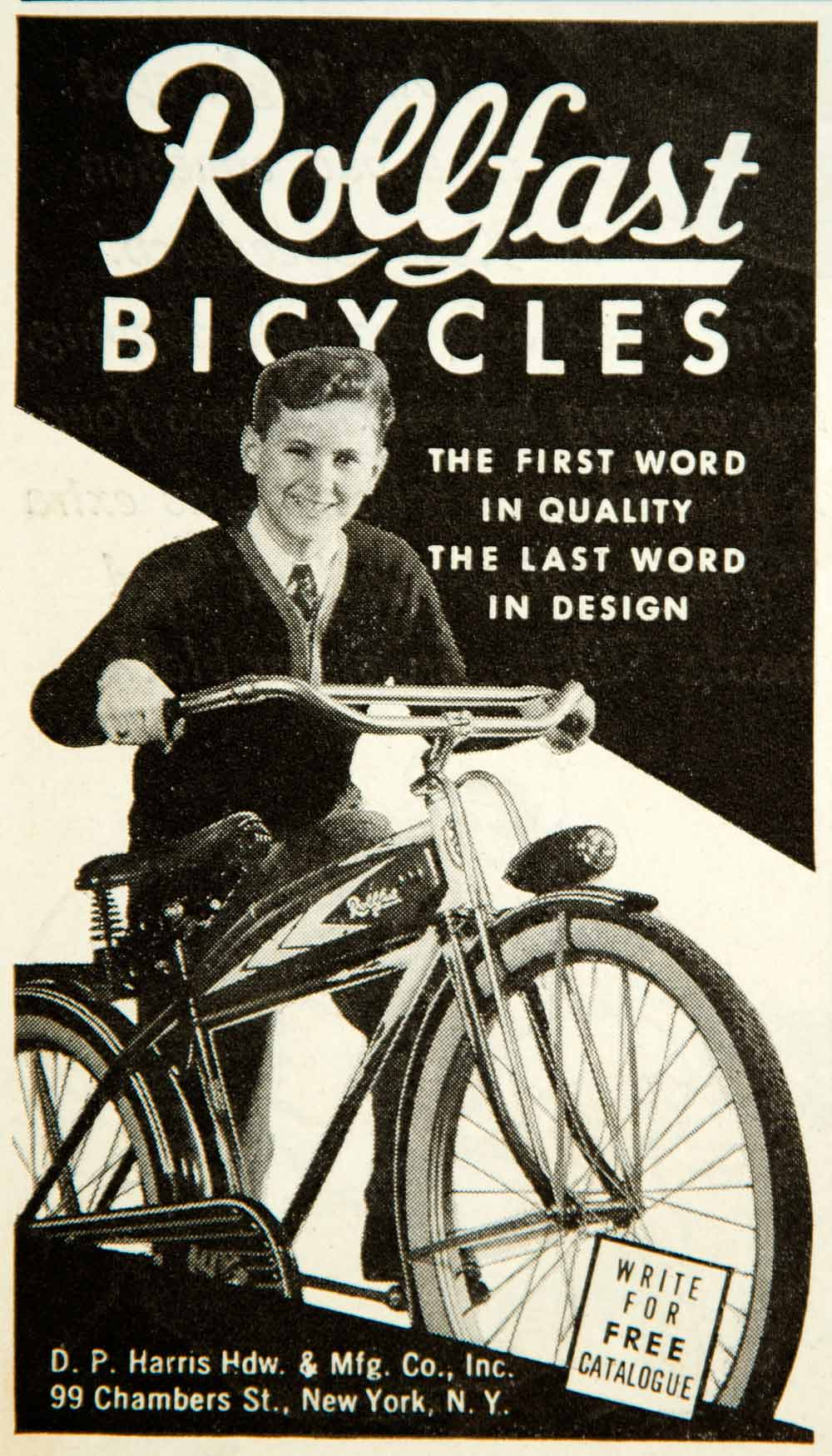 1937 Ad DP Harris Hardware 99 Chambers St NY Rollfast Bicycles YAB3