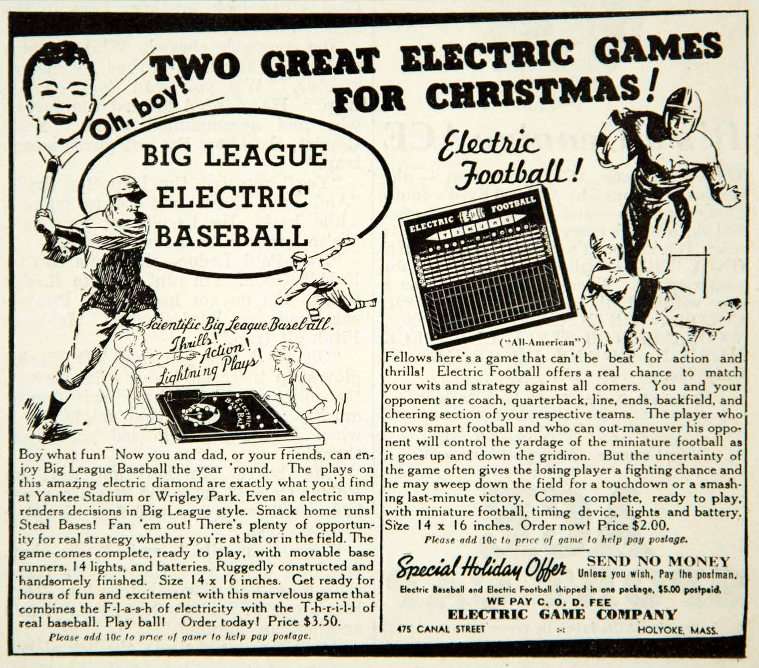 1937 Ad Electric Big League Baseball Football Game Toy 475 Canal St Holyoke YAB3