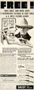 1938 Ad Daisy Air Rifle Buck Jones Special Movie Book 206 Union St Plymouth YAB3
