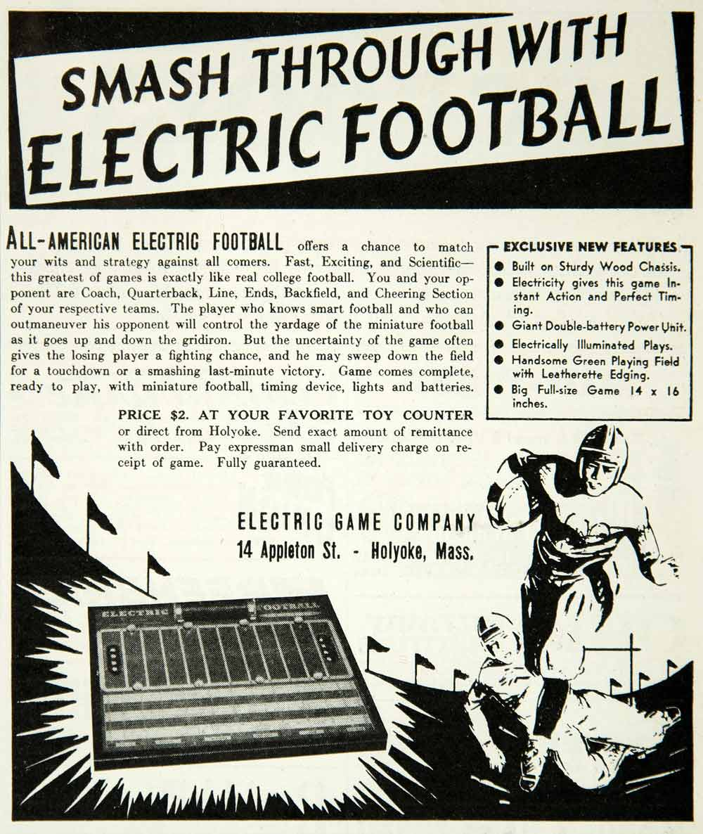 1938 Ad Electric Football Game 14 Appleton St Holyoke MA Toy Sport Athlete YAB3