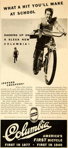 1940 Ad Columbia Bicycle Westfield MA Streamline Balloon Tires Sporting YAB3