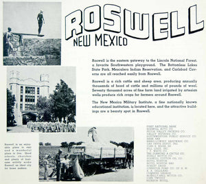 1941 Ad Roswell New Mexico Military Institute Tourism Lincoln National YAH1
