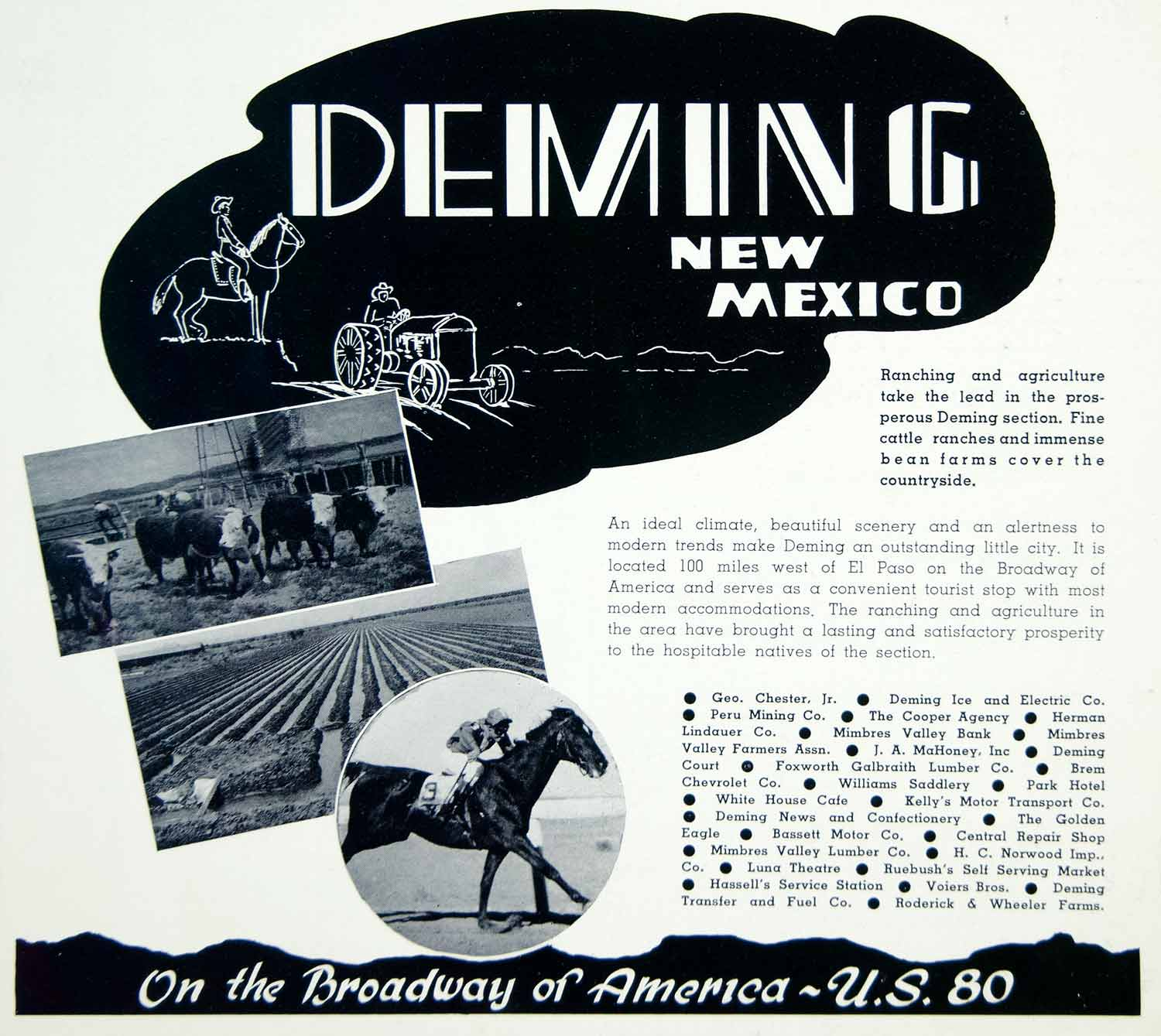 1941 Ad Deming Bean Farms Cattle Texas Ruebush Hassell Touirsm U.S. 80 YAH1