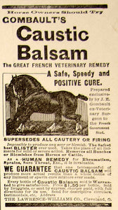 1896 Ad Antique Combault's Caustic Balsam Veterinary Remedy Horse Cure YAHB1