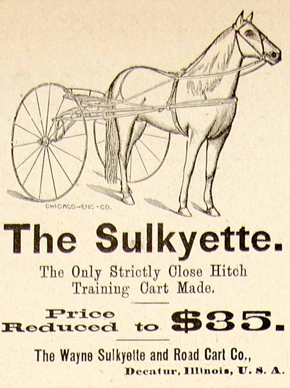 1896 Ad Antique Wayne Sulkyette Horse Road Cart Racing Training Decatur IL YAHB1