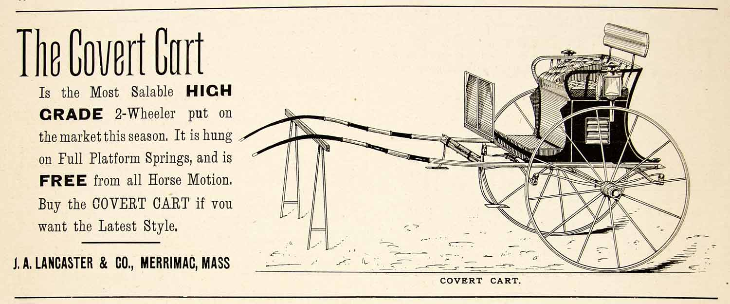 1896 Ad Antique Covert Cart 2-Wheeler Horse-drawn Buggy J. A. Lancaster YAHB1