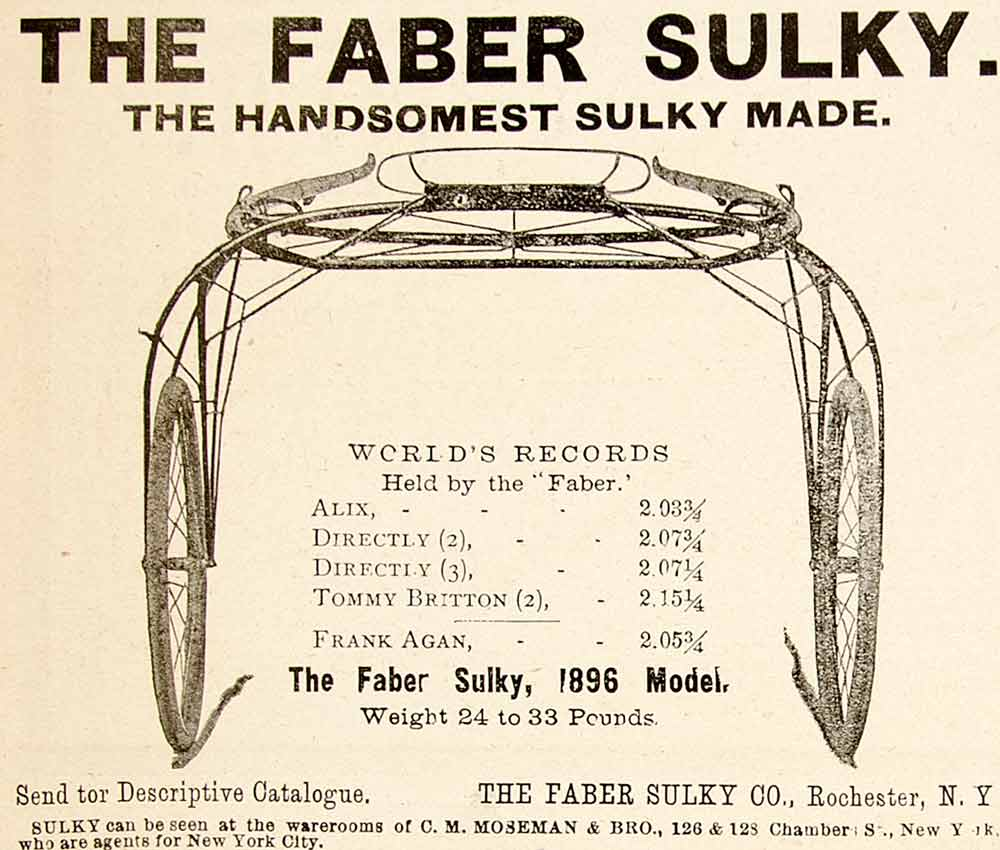1896 Ad Antique Faber Sulky Harness Racing Records Rochester New York YAHB1