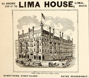 1896 Ad Antique Lima House Hotel Building Victorian Architecture Ohio YAHB1