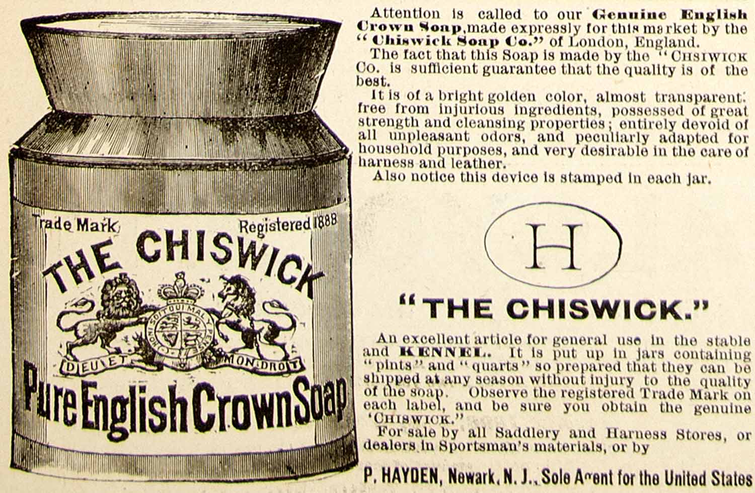 1896 Ad Antique Chiswick Pure English Crown Soap Stable Kennel Animals YAHB1