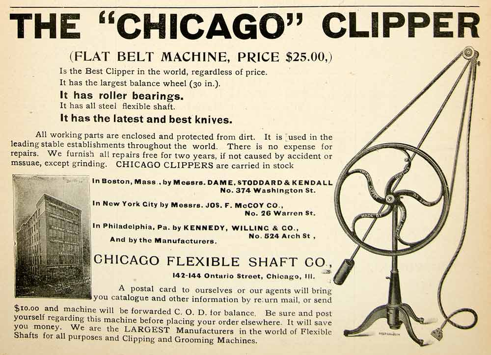 1896 Ad Horse Clippers Grooming Machine Chicago Flexible Shaft Building YAHB1
