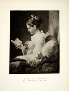 1931 Photogravure Jean Honore Fragonard Portrait Young Girl Reader Art YAN1