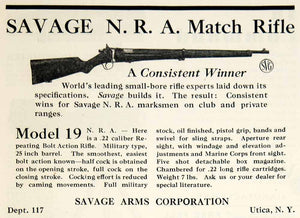 1930 Ad Savage Arms N.R.A. Model 19 Match Bolt Action Rifle Weapon Gun Fire YAR2