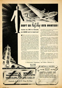 1941 Ad Curtiss Wright Technical Institute Aviation School Airplane YAT1