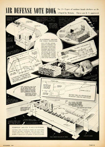 1941 Print Air Defense Bomb Shelter World War II WWII Cross Section Diagram YAT1