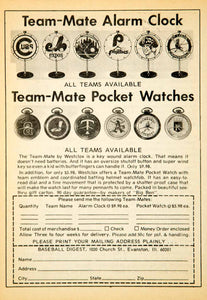 1972 Ad Westclox MLB Baseball Team-Mate Alarm Clock Pocket Watch Fan Sports YBD1