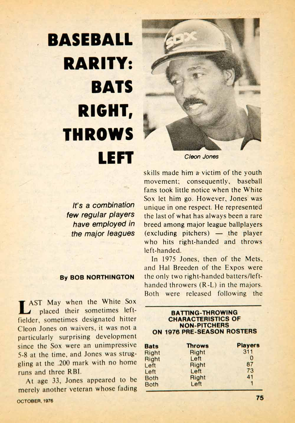 1976 Article MLB Baseball Sports Memorabilia Cleon Jones Chicago White Sox YBD1