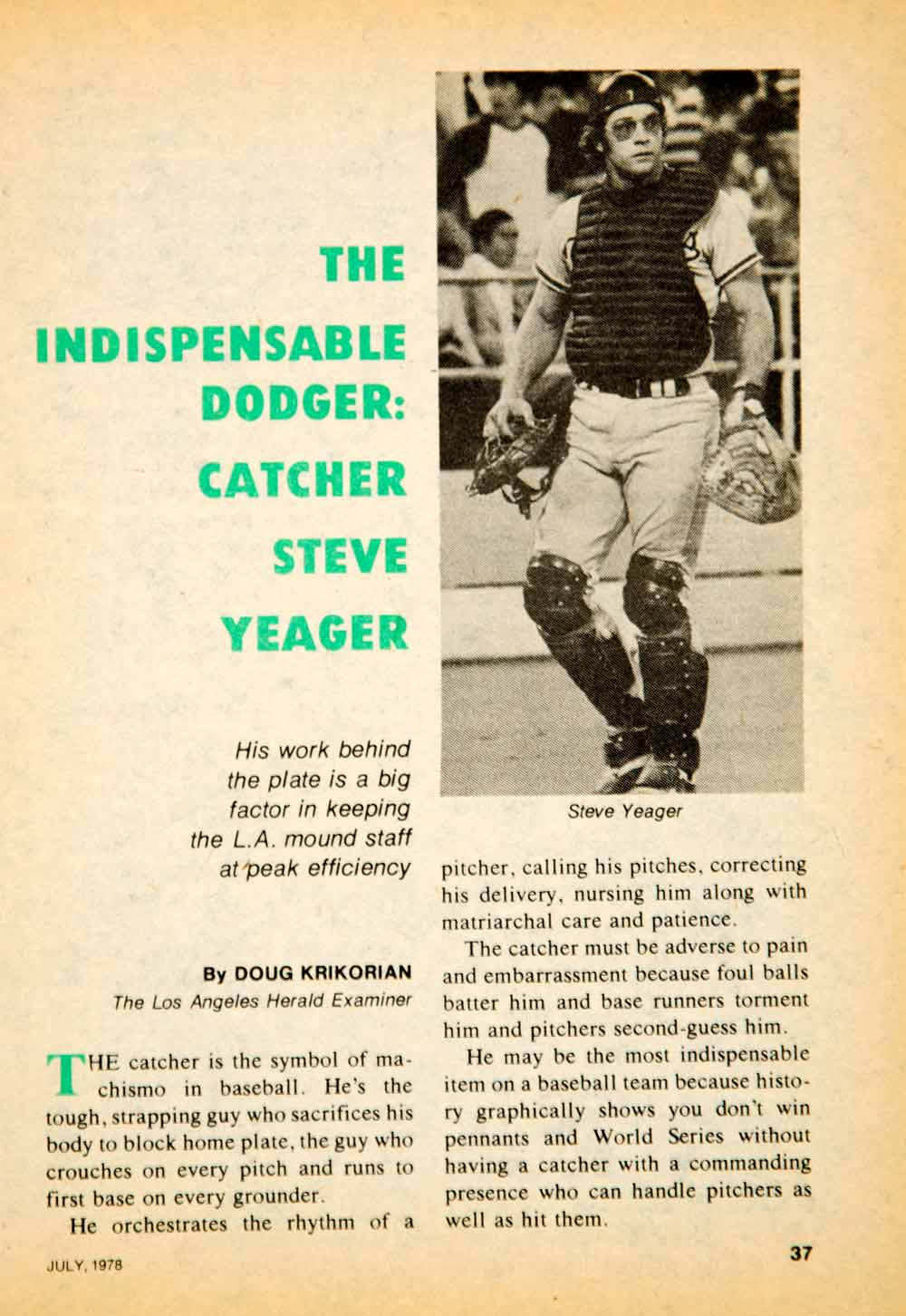 1978 Article MLB Baseball Sports Memorabilia Catcher Steve Yeager LA YBD1