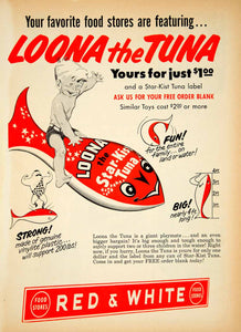 1953 Ad Star-Kist Loona Tuna Children Float Toy Fish Canned Red White Food YBL1