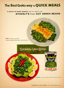 1954 Ad Stokely-Van Camp Finest Cut Green Beans Canned Vegetables Food YBL1